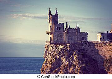 muy conocido, castillo, swallow's, nido, cerca, yalta, en, crimea