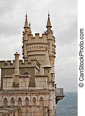 muy conocido, castillo, swallow's, nido, cerca, yalta, en, crimea, ucrania