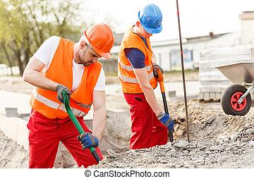 muy, duro, trabajadores, trabajando