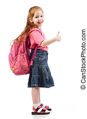 muy, joven, edad elemental, niña, con, rosa, mochila