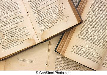 muy, libros, viejo, abierto
