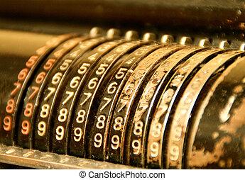 muy, máquina, viejo, calculador