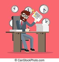 muy, ocupado, hombre de negocios