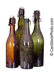 muy, polvoriento, concepto, viejo, botellas
