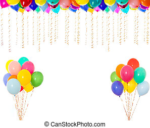 muy, resolución, aislado, alto, blanco, colorido, globos