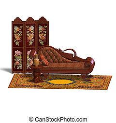 muy, sofá, biedermeier, tiempo, cómodo