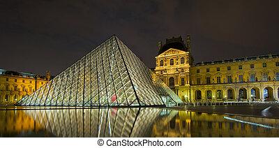 muzeum, francja, noc, paryż, luwr