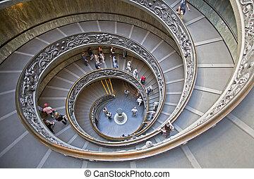 muzeum, spiralne schody, watykan