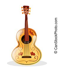 muziek, akoestisch, folk-music, voorwerp, vector, mexicaanse...