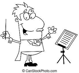 muziek, dirigent, geschetste
