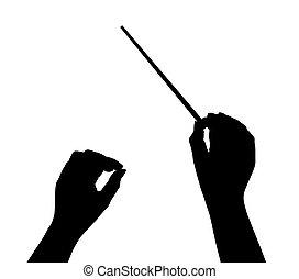 muziek, dirigent, handen