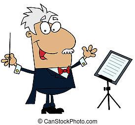 muziek, dirigent, man