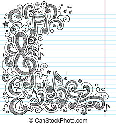 muziek, doodle, vector, pagina, grens