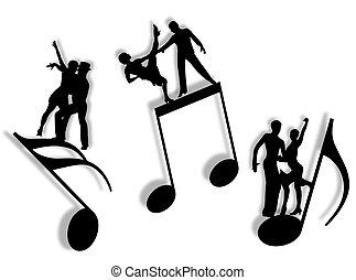 muziek, en, dans