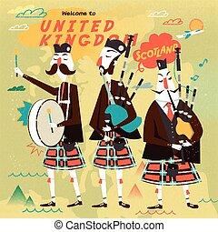 muziek, folk-music, schots, poster