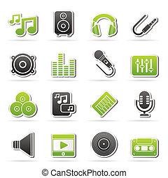 muziek, geluid, en, audio, iconen