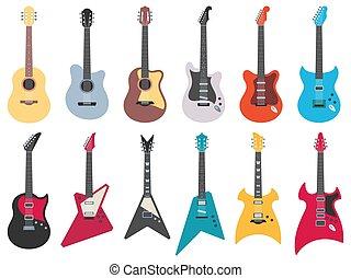 muziek, gitaar, instrumenten, illustratie, akoestisch, plat, jazz, guitars., rots, koorden, metaal, set, vector, elektrisch
