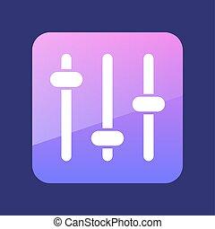 muziek, icon., equalizer, geluid, symbool, golf