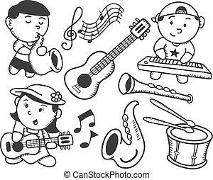 muziek, kinderen spelende