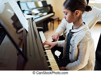 muziek leraar, met, de, pupil, op, les, piano