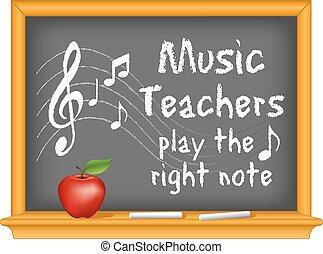 muziek, leraren, toneelstuk, rechts, aantekening