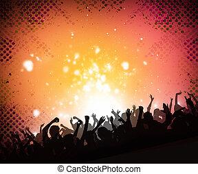 muziek, menigte, achtergrond
