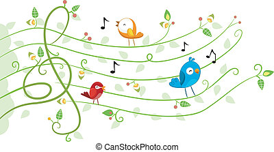 muziek, ontwerp, vogels