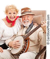 muziek, paar, land, senior