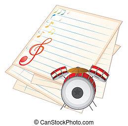 muziek, papier, trommel, lege