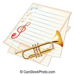 muziek, papier, trompet, lege