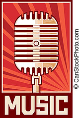 muziek, poster, (microphone)