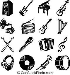 muziek, set, black , iconen
