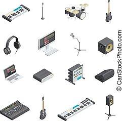 muziek, set, studio, communie