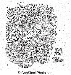muziek, sketchy, aantekenboekje, doodles.