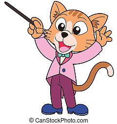 muziek, spotprent, dirigent, kat