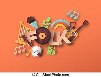 muziek, stijl, papercut, folk-music, noteren, pictogram, ...