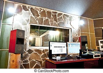 Slaapkamer, uitrusting, computer, studio, muziek.