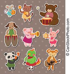 muziek, toneelstuk, stickers, dier