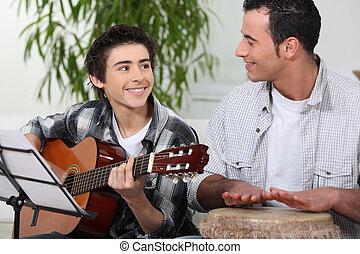 muziek, vader, spelen samen, zoon
