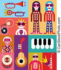 muziek, -, vector, illustratie