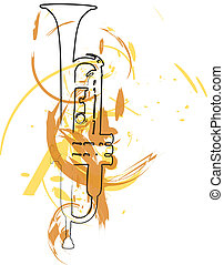 muziek, vector, instrument., illustratie