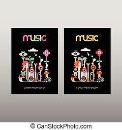 muziek, vector, poster, mal