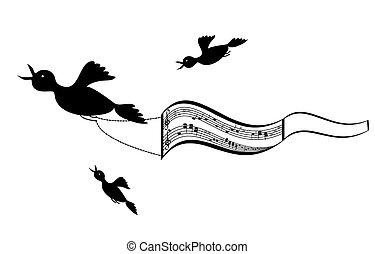 muziek, vliegen, blad, vogels, backg