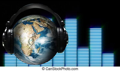 muziek, wereld, animatie, concept