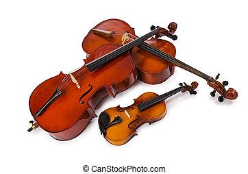 muziekinstrumente, vrijstaand, op wit