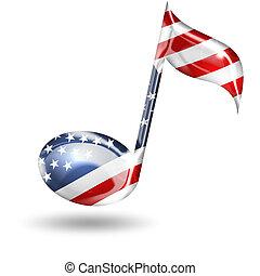 muzieknoot, met, amerikaanse vlag, kleuren, op wit,...