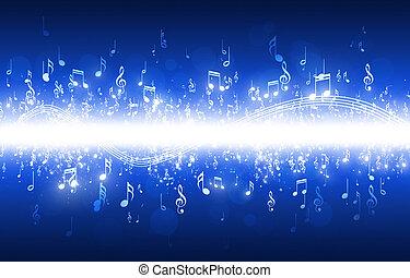 muzieknota's, blauwe achtergrond