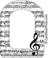 muzieknota's, boog, frame, afbeelding