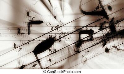 muzieknota's, classieke, kleuren, lus