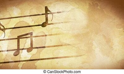muzieknota's, op, oud, papier, lus